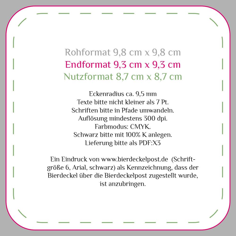 Bierdeckelpost - Druckdatenblatt: Kleinstauflage